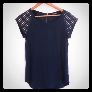 Express Black Top with Gold Stud Sleeves